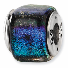 Sterling Silver Rainbow Dichroic Glass Square Bead