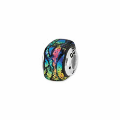 Sterling Silver Rainbow Square Dichroic Glass Bead