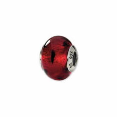 Sterling Silver Red/Black Italian Murano Bead