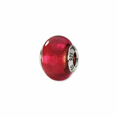 Sterling Silver Red Italian Murano Bead