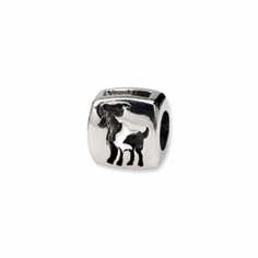 Sterling Silver Reflections Aries Zodiac Antiqued Bead