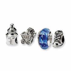 Sterling Silver Reflections Baby Boy Boxed Bead Set