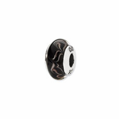 Sterling Silver Reflections Black/Copper Swirl Hand-blown Glass Bead