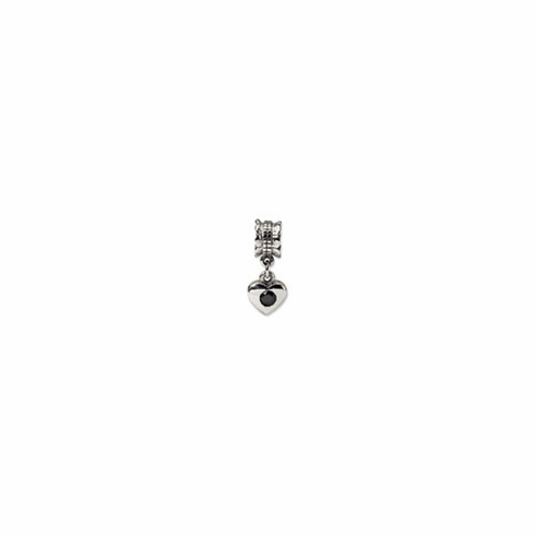 Sterling Silver Reflections Black CZ Heart Dangle Bead