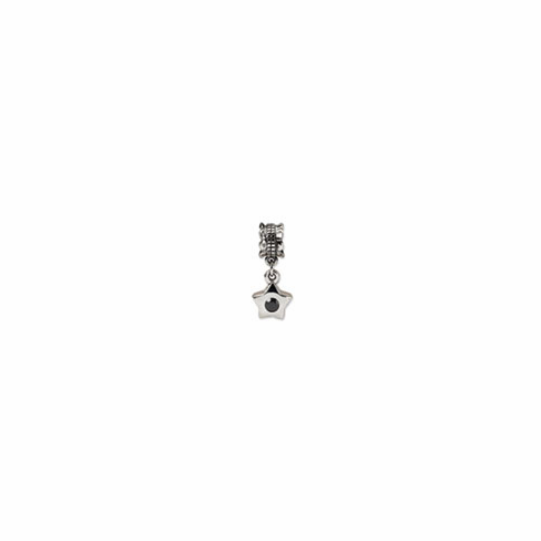 Sterling Silver Reflections Black CZ Star Dangle Bead
