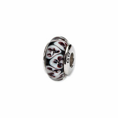 Sterling Silver Reflections Black Floral Hand-blown Glass Bead