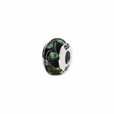 Sterling Silver Reflections Black/Green Pentegon Shaped Glass Bead