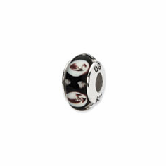 Sterling Silver Reflections Black/Purple Floral Hand-blown Glass Bead
