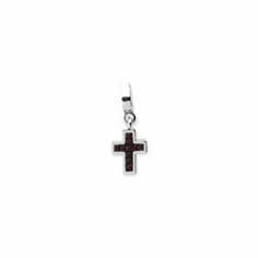 Sterling Silver Reflections Black Swarovski Cross Dangle Bead