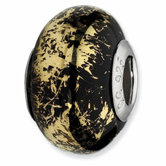 Sterling Silver Reflections Black w/Gold Foil Ceramic Bead