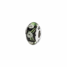 Sterling Silver Reflections Black/White Floral Hand-blown Glass Bead