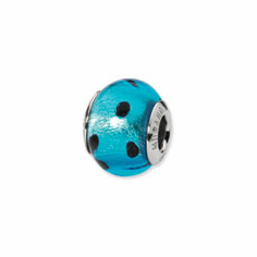 Sterling Silver Reflections Blue/Black Italian Murano Bead