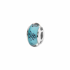 Sterling Silver Reflections Blue/Black Scribble Hand-blown Glass Bead
