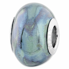 Sterling Silver Reflections Blue/Grey Ceramic Bead