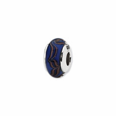 Sterling Silver Reflections Blue/Tan Swirl Hand-blown Glass Bead