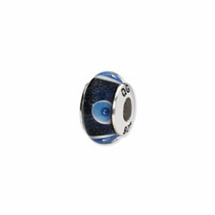 Sterling Silver Reflections Blue/White Circles Hand-blown Glass Bead
