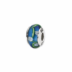 Sterling Silver Reflections Blue/White Floral Hand-blown Glass Bead