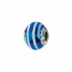 Sterling Silver Reflections Blue/White Italian Murano Bead