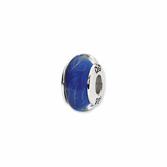Sterling Silver Reflections Blue/White Scribble Hand-blown Glass Bead