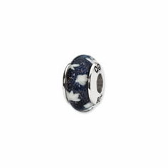Sterling Silver Reflections Blue/White Stars Hand-blown Glass Bead