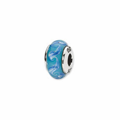 Sterling Silver Reflections Blue/White Swirl Hand-blown Glass Bead