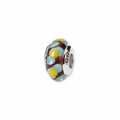 Sterling Silver Reflections Brown/Blue/Yellow Hand-blown Glass Bead