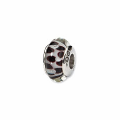 Sterling Silver Reflections Brown Floral Hand-blown Glass Bead