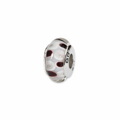 Sterling Silver Reflections Brown/White Hand-blown Glass Bead