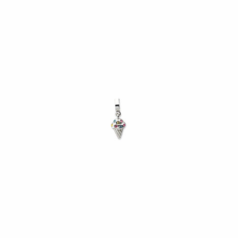 Sterling Silver Reflections CZ Ice Cream Cone Dangle Bead