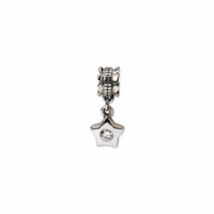 Sterling Silver Reflections CZ Star Dangle Bead