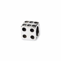 Sterling Silver Reflections Dice Bead