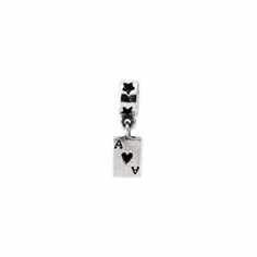 Sterling Silver Reflections Enameled Ace of Hearts Dangle Bead
