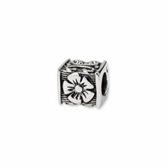 Sterling Silver Reflections Floral Cube Bead