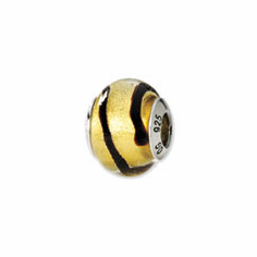 Sterling Silver Reflections Gold/Black Italian Murano Bead