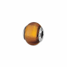 Sterling Silver Reflections Gold Color Italian Murano Bead