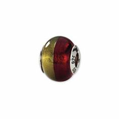 Sterling Silver Reflections Gold/Red Italian Murano Bead