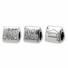 Sterling Silver Reflections Grad 2012 Trilogy Bead