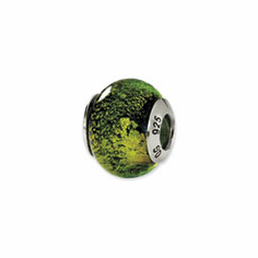 Sterling Silver Reflections Green/Black Italian Murano Bead