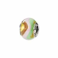Sterling Silver Reflections Green/Pink/Yellow/Gold Italian Murano Bead