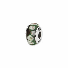 Sterling Silver Reflections Green/Purple Floral Hand-blown Glass Bead