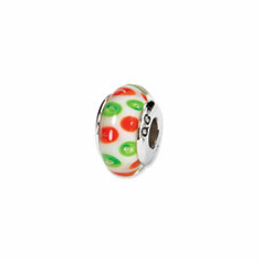 Sterling Silver Reflections Green/Red Hand-blown Glass Bead