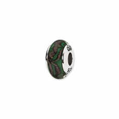 Sterling Silver Reflections Green/Tan Swirl Hand-blown Glass Bead