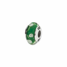 Sterling Silver Reflections Green/White Floral Hand-blown Glass Bead