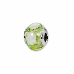 Sterling Silver Reflections Green/White Flower Italian Murano Bead