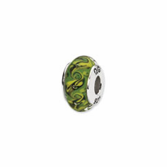 Sterling Silver Reflections Green/Yellow Swirl Hand-blown Glass Bead