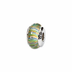 Sterling Silver Reflections GreenPastel Striped Hand-blown Glass Bead