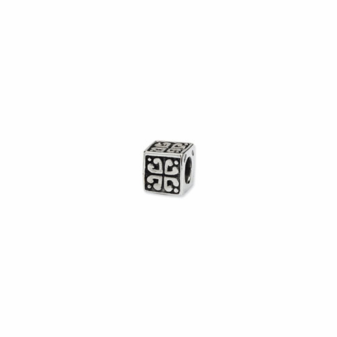 Sterling Silver Reflections Heart Cube Bead