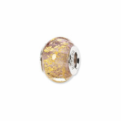 Sterling Silver Reflections Lavendar/Gold Italian Murano Bead