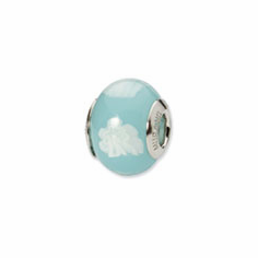 Sterling Silver Reflections Lt. Blue/White Italian Murano Bead