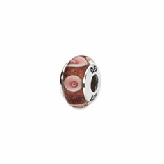 Sterling Silver Reflections Lt. Pink Hand-blown Glass Bead